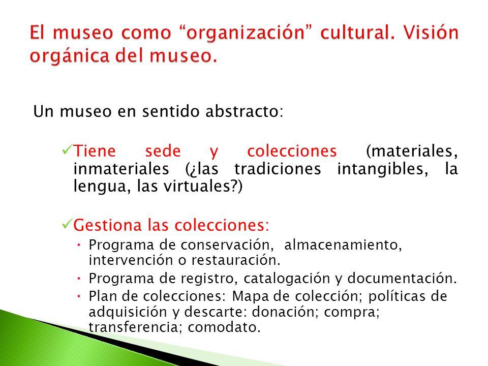 Un museo en sentido abstracto: Tiene sede y colecciones (materiales, inmateriales (¿las tradiciones intangibles, la lengua, las virtuales?) Gestiona l