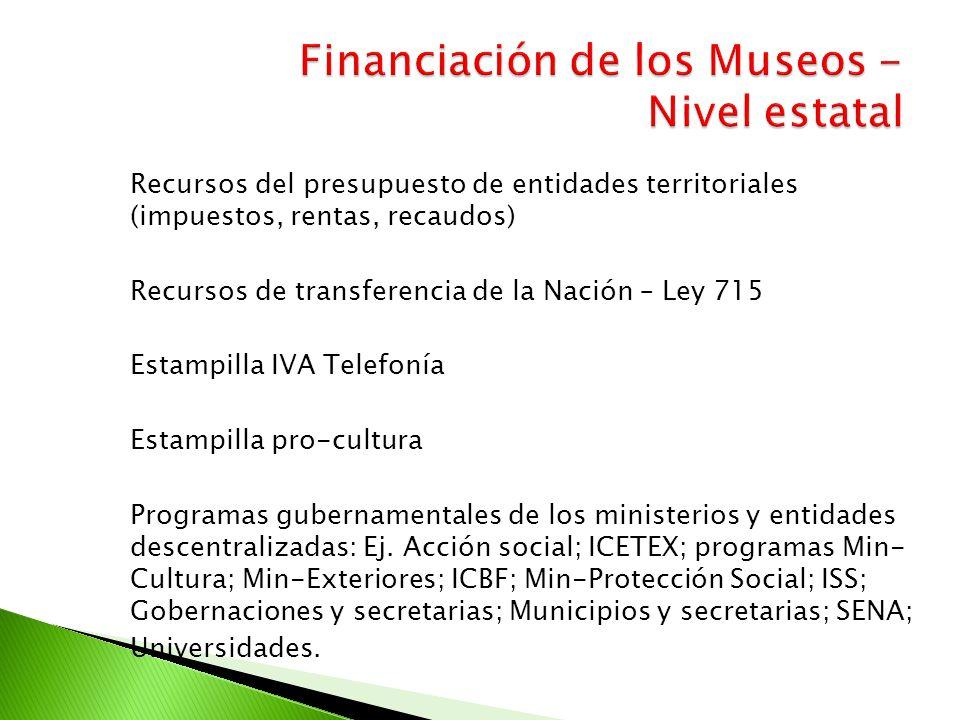 Recursos del presupuesto de entidades territoriales (impuestos, rentas, recaudos) Recursos de transferencia de la Nación – Ley 715 Estampilla IVA Tele