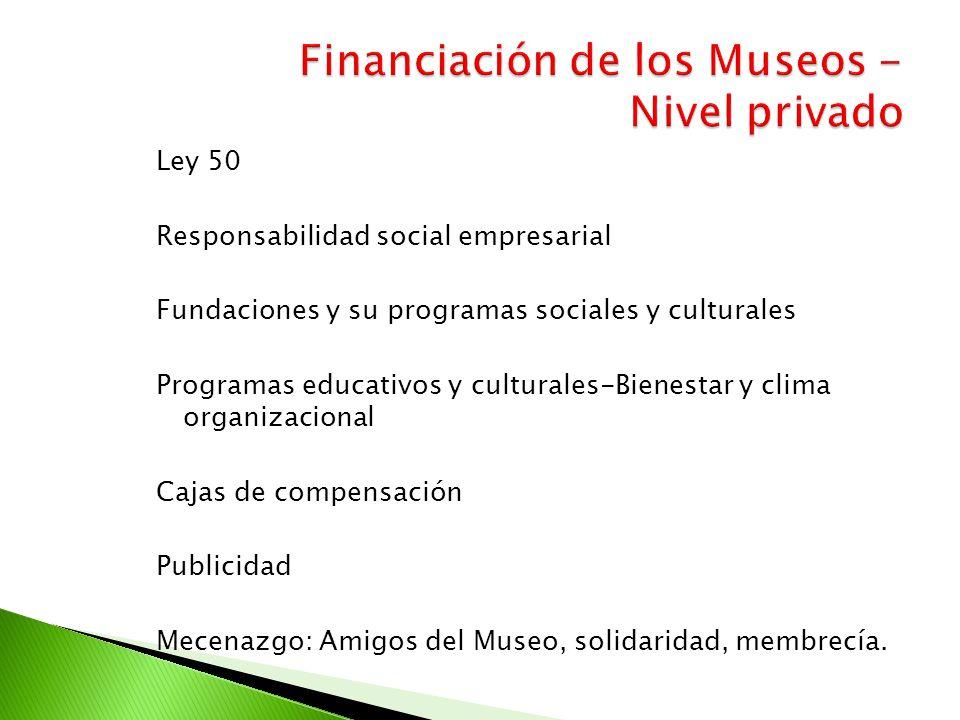 Ley 50 Responsabilidad social empresarial Fundaciones y su programas sociales y culturales Programas educativos y culturales-Bienestar y clima organiz