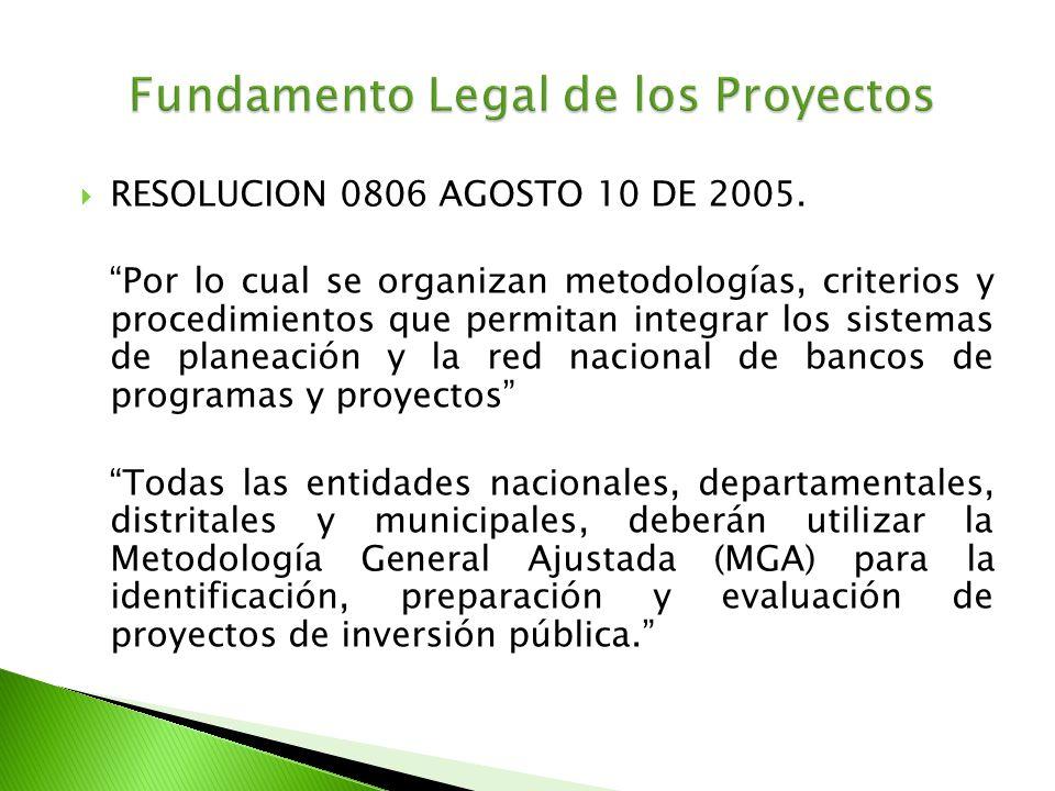 RESOLUCION 0806 AGOSTO 10 DE 2005. Por lo cual se organizan metodologías, criterios y procedimientos que permitan integrar los sistemas de planeación
