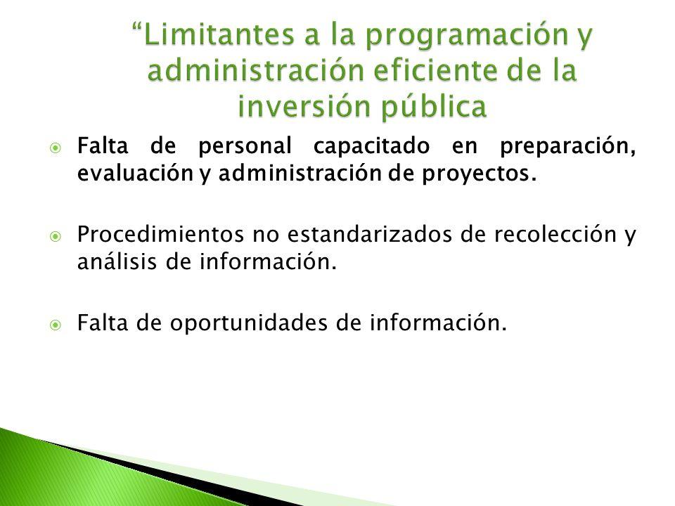 Falta de personal capacitado en preparación, evaluación y administración de proyectos. Procedimientos no estandarizados de recolección y análisis de i