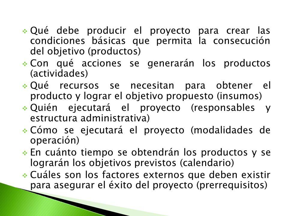 Qué debe producir el proyecto para crear las condiciones básicas que permita la consecución del objetivo (productos) Con qué acciones se generarán los