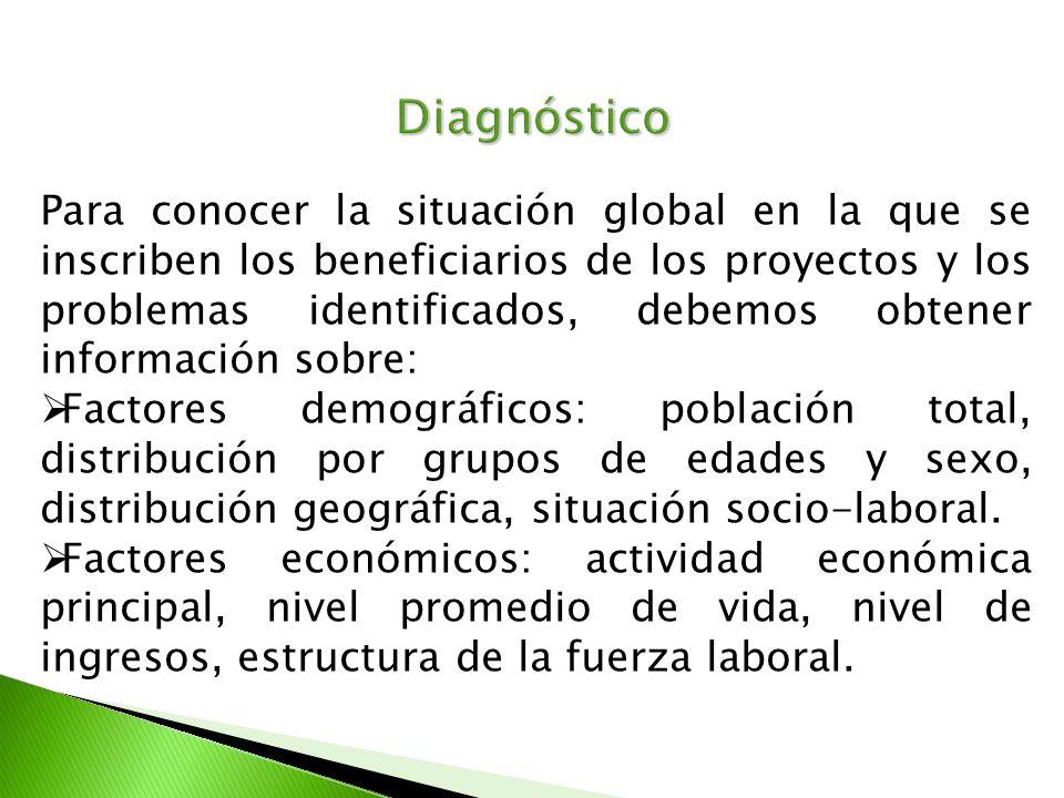 Diagnóstico Para conocer la situación global en la que se inscriben los beneficiarios de los proyectos y los problemas identificados, debemos obtener