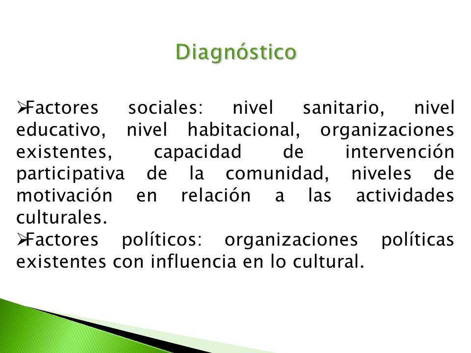 Diagnóstico Factores sociales: nivel sanitario, nivel educativo, nivel habitacional, organizaciones existentes, capacidad de intervención participativ