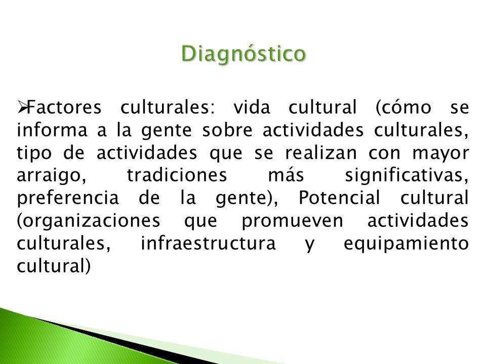 Diagnóstico Factores culturales: vida cultural (cómo se informa a la gente sobre actividades culturales, tipo de actividades que se realizan con mayor