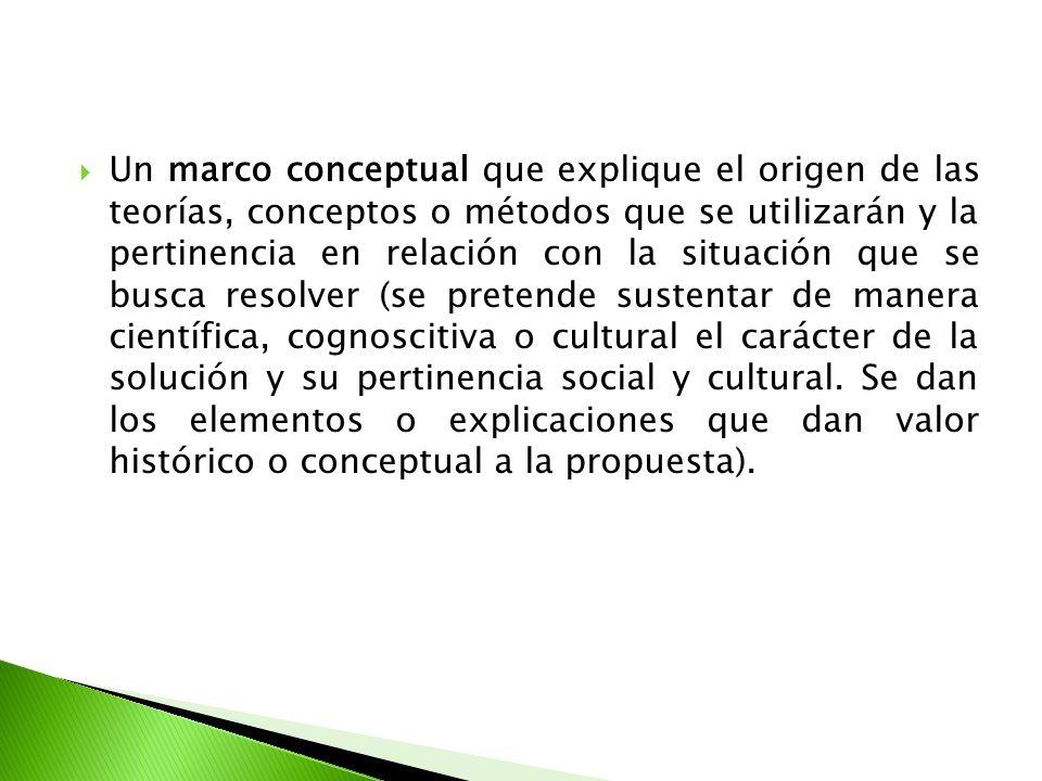 Un marco conceptual que explique el origen de las teorías, conceptos o métodos que se utilizarán y la pertinencia en relación con la situación que se