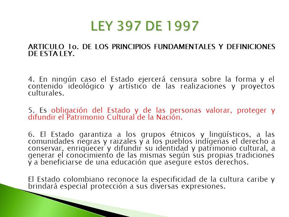ARTICULO 1o. DE LOS PRINCIPIOS FUNDAMENTALES Y DEFINICIONES DE ESTA LEY. 4. En ningún caso el Estado ejercerá censura sobre la forma y el contenido id