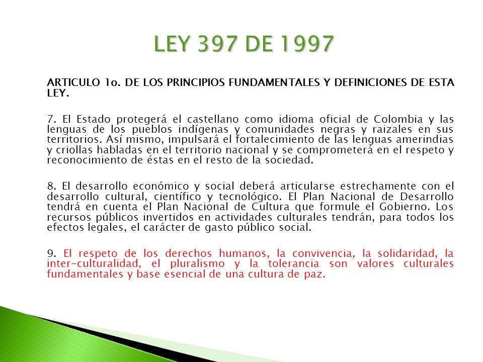ARTICULO 1o. DE LOS PRINCIPIOS FUNDAMENTALES Y DEFINICIONES DE ESTA LEY. 7. El Estado protegerá el castellano como idioma oficial de Colombia y las le