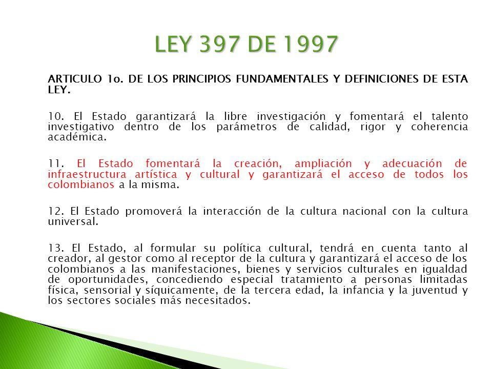 ARTICULO 1o. DE LOS PRINCIPIOS FUNDAMENTALES Y DEFINICIONES DE ESTA LEY. 10. El Estado garantizará la libre investigación y fomentará el talento inves