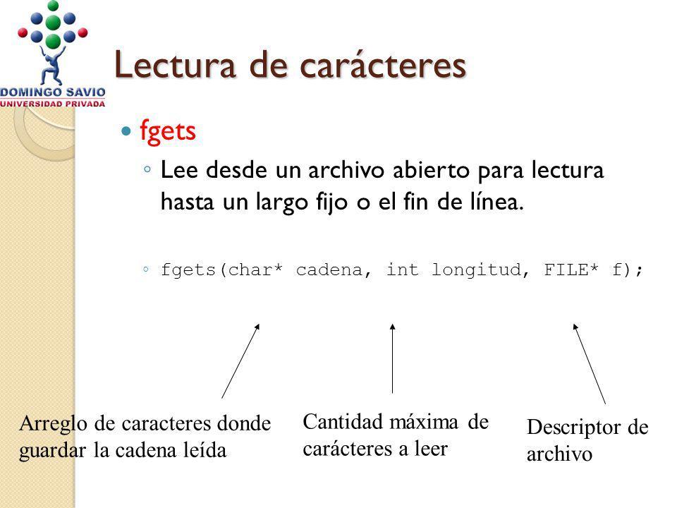 Lectura de carácteres fgets Lee desde un archivo abierto para lectura hasta un largo fijo o el fin de línea. fgets(char* cadena, int longitud, FILE* f
