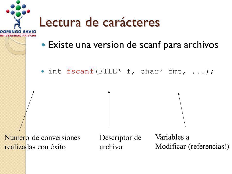 Lectura de carácteres Existe una version de scanf para archivos int fscanf(FILE* f, char* fmt,...); Numero de conversiones realizadas con éxito Descriptor de archivo Variables a Modificar (referencias!)