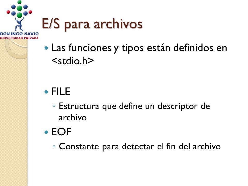 E/S para archivos Las funciones y tipos están definidos en FILE Estructura que define un descriptor de archivo EOF Constante para detectar el fin del archivo
