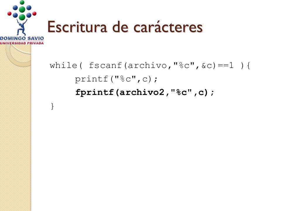 Escritura de carácteres while( fscanf(archivo, %c ,&c)==1 ){ printf( %c ,c); fprintf(archivo2, %c ,c); }