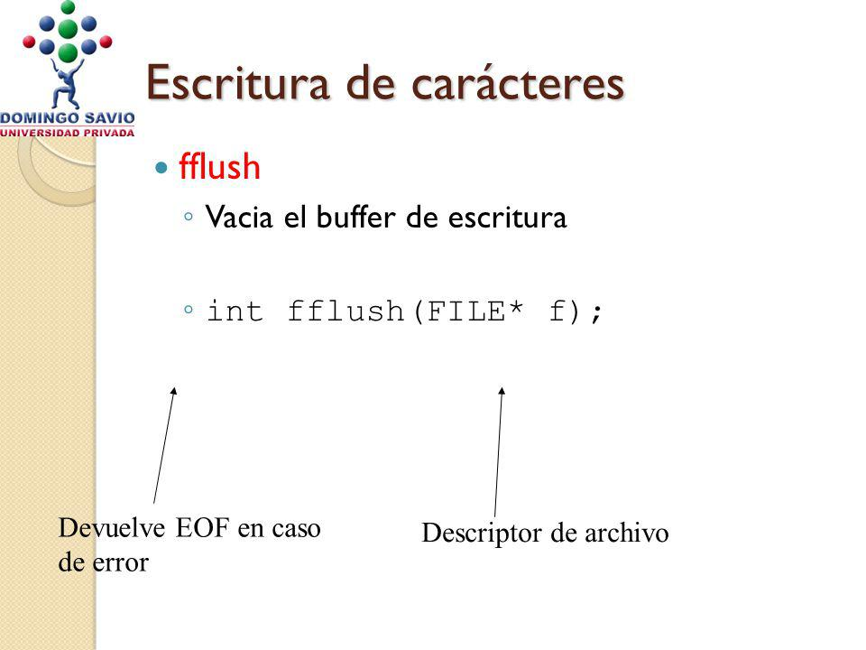 Escritura de carácteres fflush Vacia el buffer de escritura int fflush(FILE* f); Descriptor de archivo Devuelve EOF en caso de error