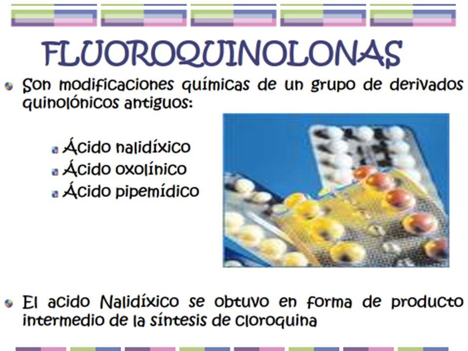 1a Generación (V:O)2a Generación3a Generación4a Generación Ácid nalidíxicoCiprofloxacin(OPLevofloxacinBalofloxacin/O Ácido oxolínicoEnoxacina (oral)Esparfloxa/OClinafloxacin/P Ác.
