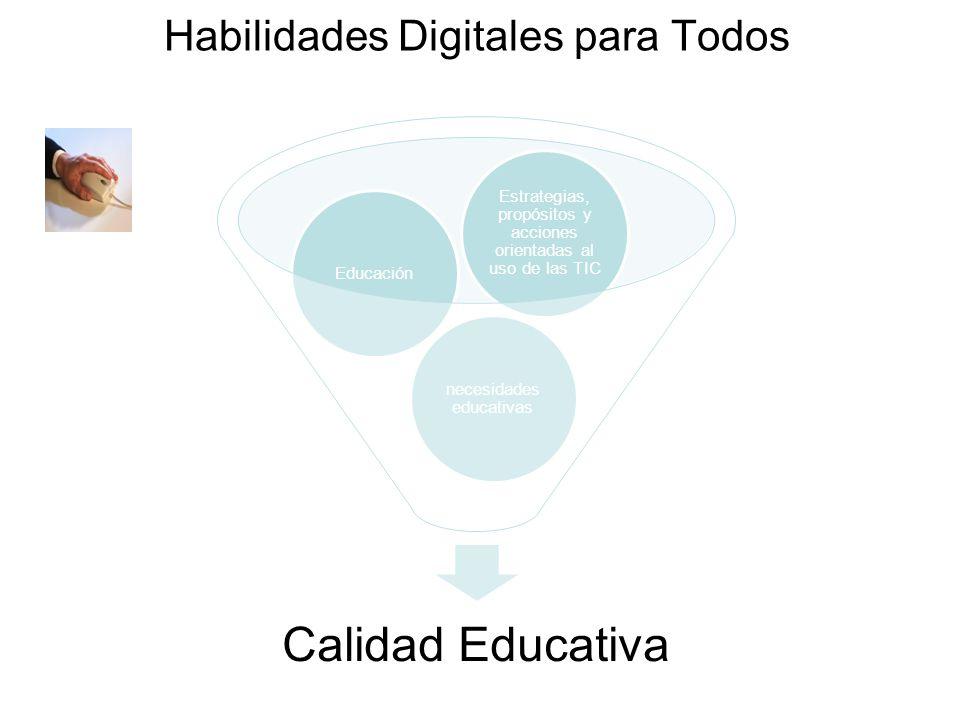Habilidades Digitales para Todos Calidad Educativa necesidades educativas Educación Estrategias, propósitos y acciones orientadas al uso de las TIC