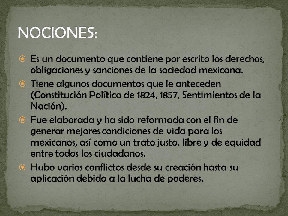 Es un documento que contiene por escrito los derechos, obligaciones y sanciones de la sociedad mexicana. Tiene algunos documentos que le anteceden (Co