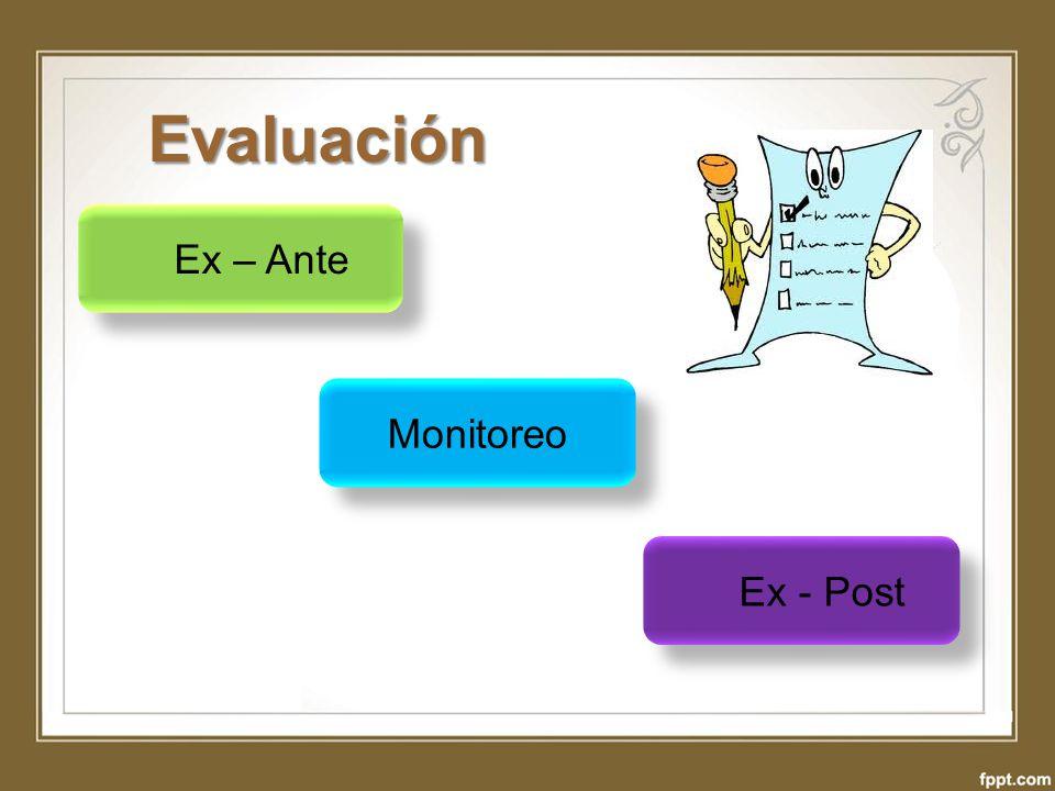 Evaluación Ex – Ante Monitoreo Ex - Post