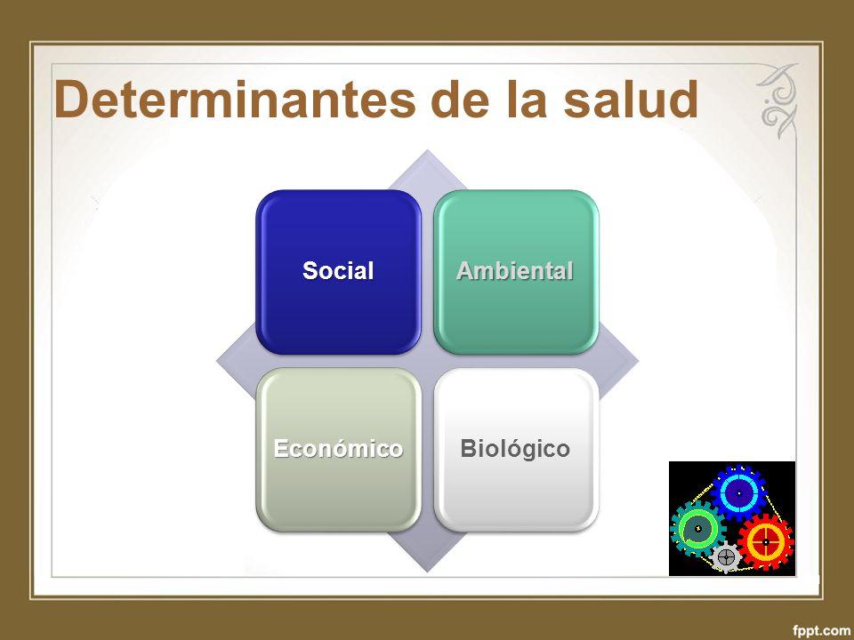 Determinantes de la salud SocialAmbiental EconómicoBiológico