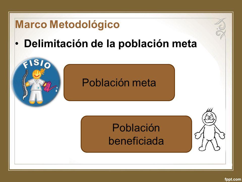 Marco Metodológico Delimitación de la población meta Población meta Población beneficiada