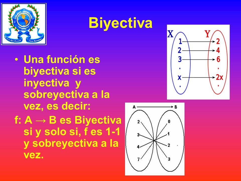 Biyectiva Una función es biyectiva si es inyectiva y sobreyectiva a la vez, es decir: f: A B es Biyectiva si y solo si, f es 1-1 y sobreyectiva a la vez.