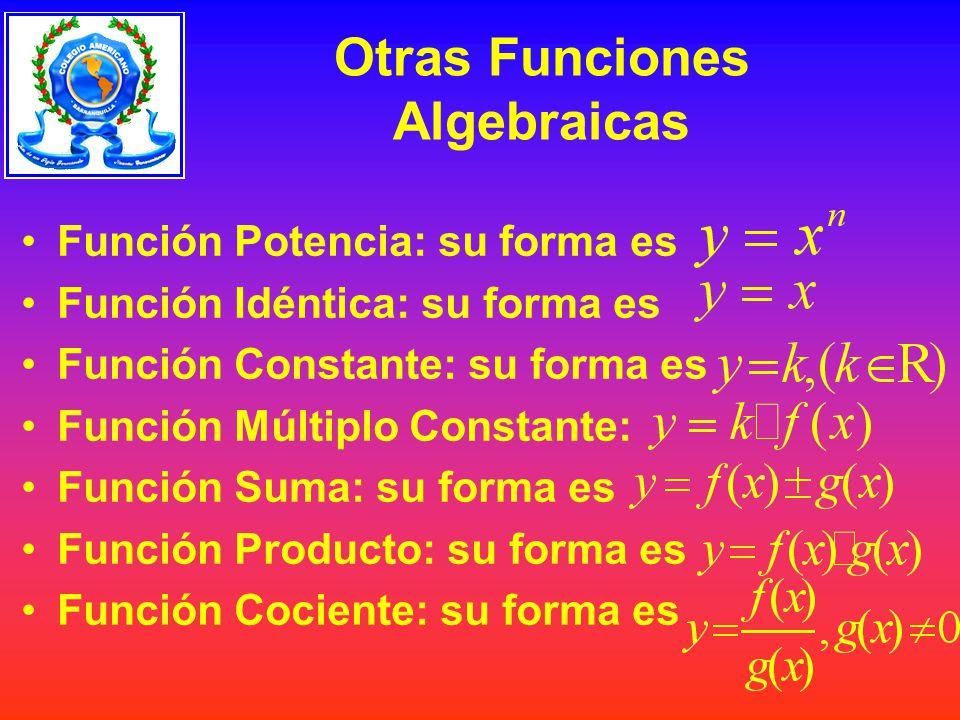 Otras Funciones Algebraicas Función Potencia: su forma es Función Idéntica: su forma es Función Constante: su forma es Función Múltiplo Constante: Función Suma: su forma es Función Producto: su forma es Función Cociente: su forma es
