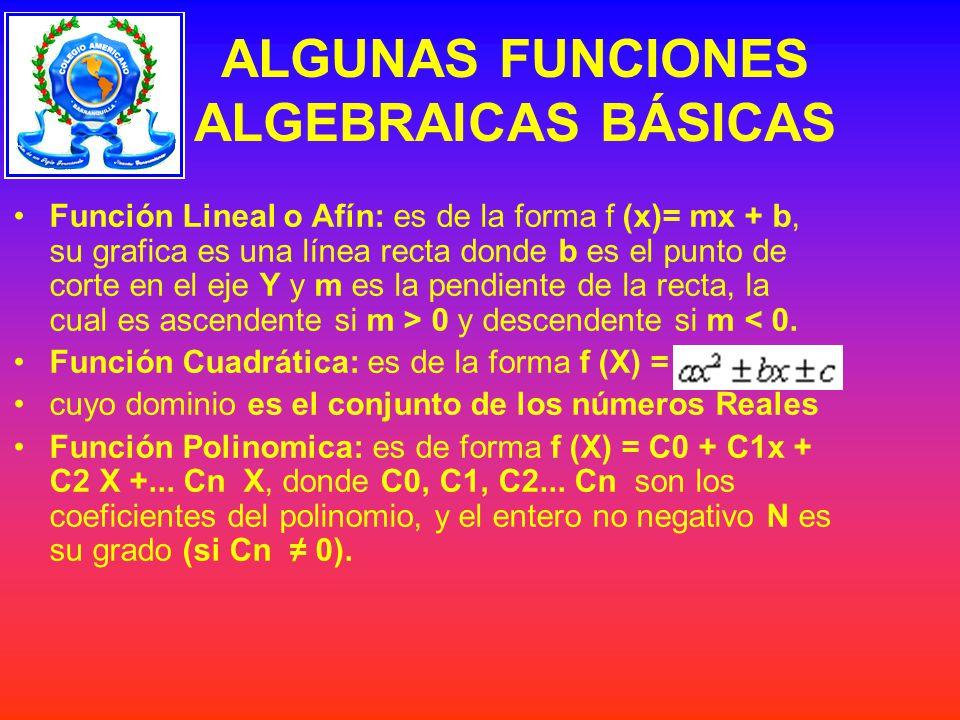 ALGUNAS FUNCIONES ALGEBRAICAS BÁSICAS Función Lineal o Afín: es de la forma f (x)= mx + b, su grafica es una línea recta donde b es el punto de corte en el eje Y y m es la pendiente de la recta, la cual es ascendente si m > 0 y descendente si m < 0.