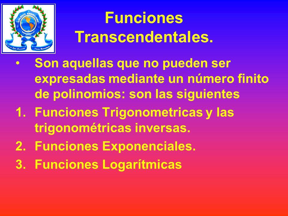 Funciones Transcendentales. Son aquellas que no pueden ser expresadas mediante un número finito de polinomios: son las siguientes 1.Funciones Trigonom