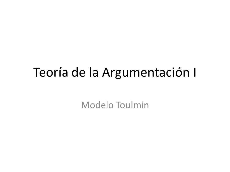 Teoría de la Argumentación I Modelo Toulmin