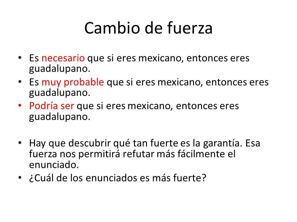Cambio de fuerza Es necesario que si eres mexicano, entonces eres guadalupano.