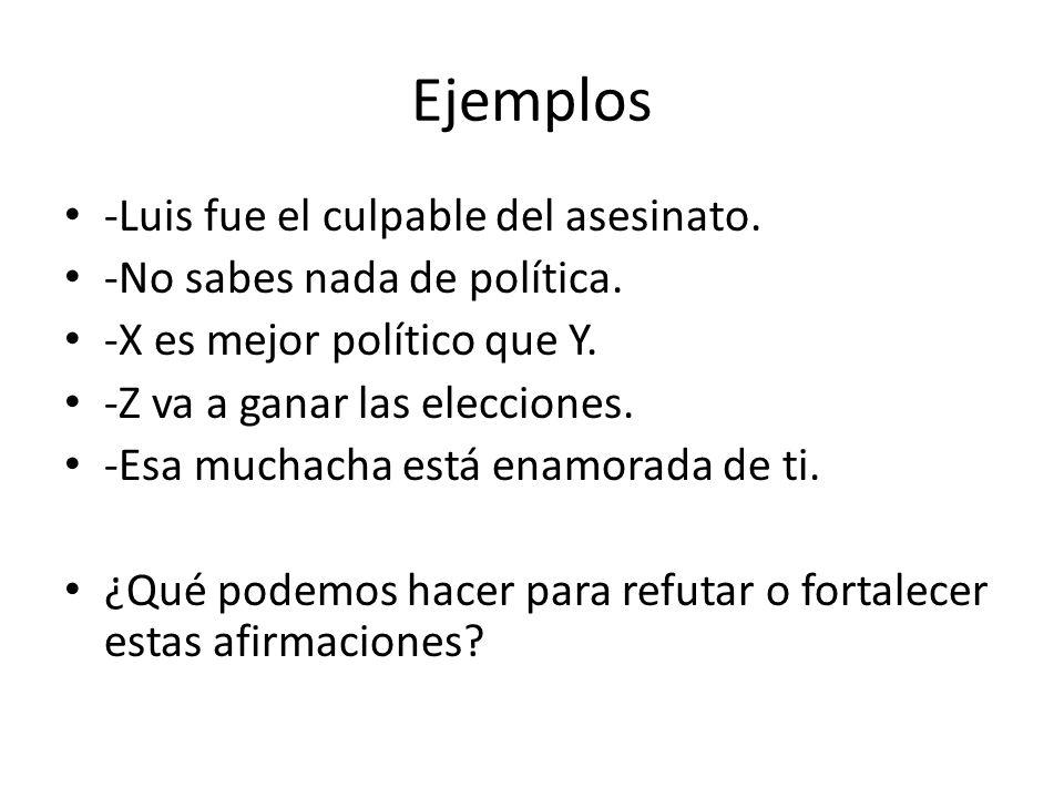 Ejemplos -Luis fue el culpable del asesinato.-No sabes nada de política.