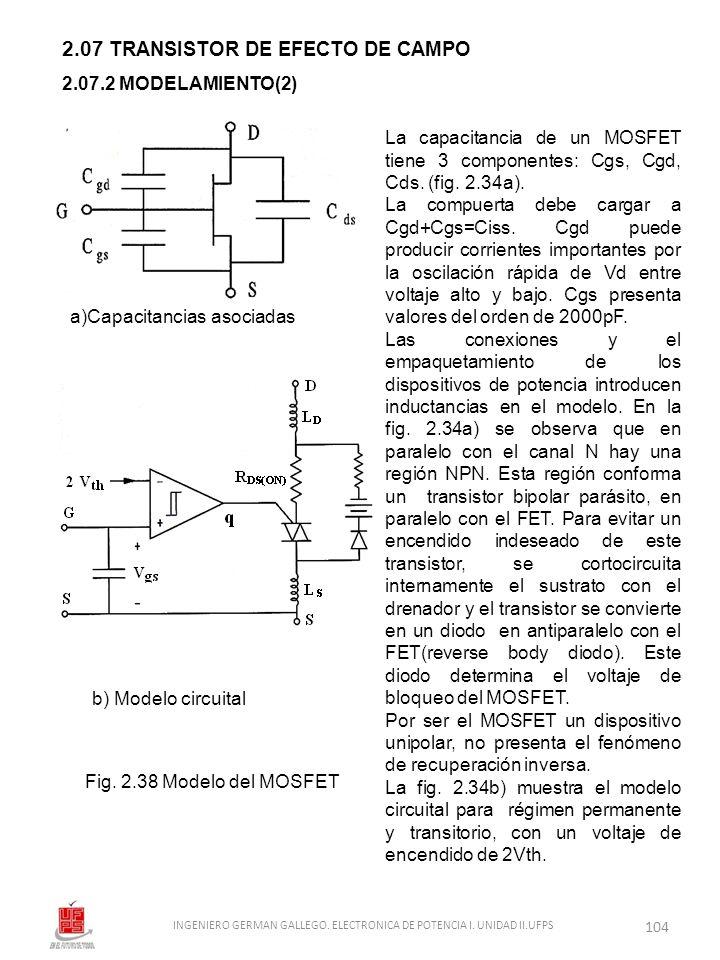 2.07 TRANSISTOR DE EFECTO DE CAMPO b) Modelo circuital Fig. 2.38 Modelo del MOSFET 2.07.2 MODELAMIENTO(2) a)Capacitancias asociadas La capacitancia de