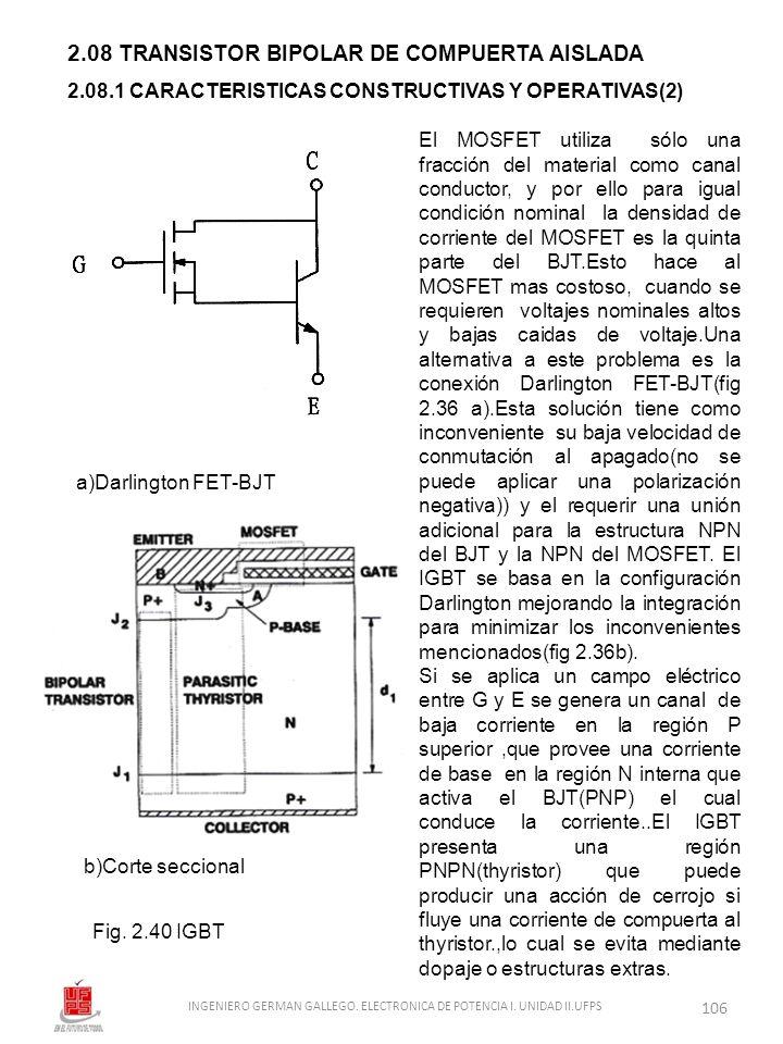 2.08 TRANSISTOR BIPOLAR DE COMPUERTA AISLADA Fig. 2.40 IGBT 2.08.1 CARACTERISTICAS CONSTRUCTIVAS Y OPERATIVAS(2) El MOSFET utiliza sólo una fracción d