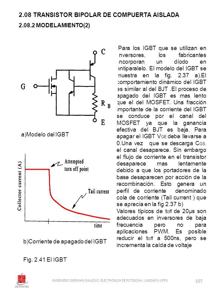 2.08 TRANSISTOR BIPOLAR DE COMPUERTA AISLADA Fig. 2.41 El IGBT 2.08.2 MODELAMIENTO(2) Para los IGBT que se utilizan en iinversores, los fabricantes ii