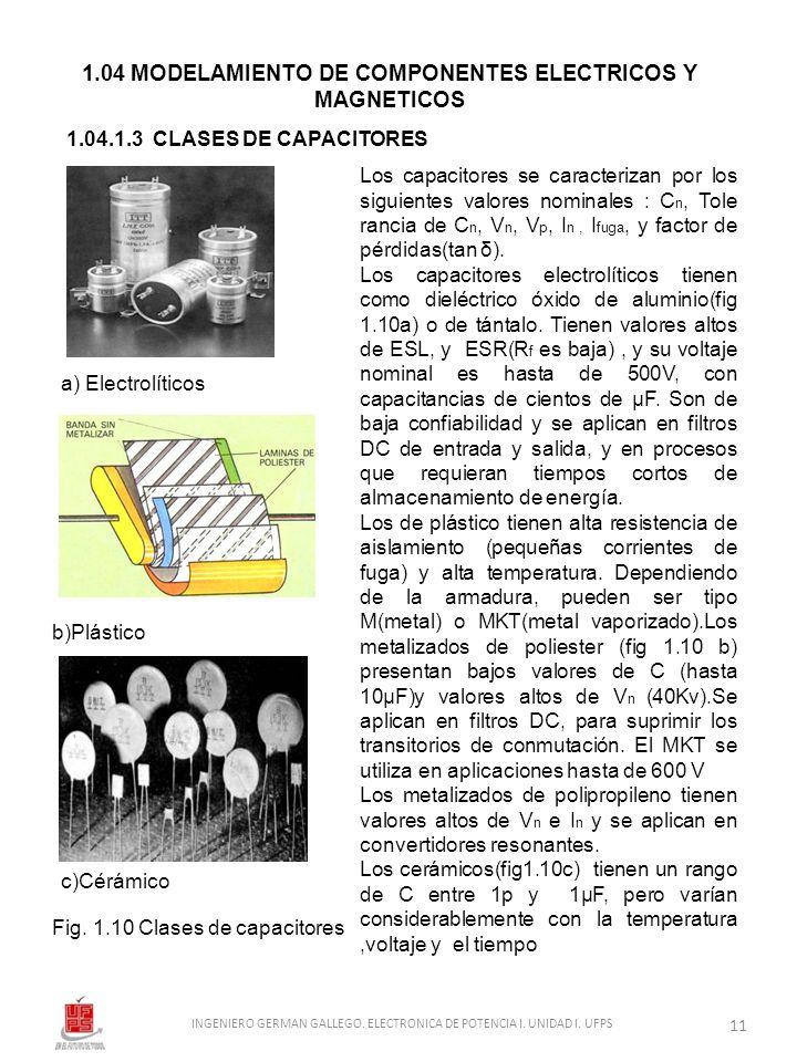 1.04 MODELAMIENTO DE COMPONENTES ELECTRICOS Y MAGNETICOS 1.04.1.3 CLASES DE CAPACITORES a) Electrolíticos b)Plástico Fig. 1.10 Clases de capacitores L