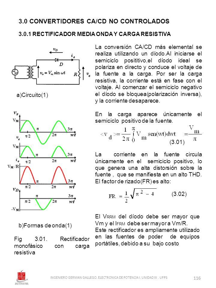 La conversión CA/CD más elemental se realiza utilizando un díodo.Al iniciarse el semiciclo posititivo,el díodo ideal se polariza en directo y conduce