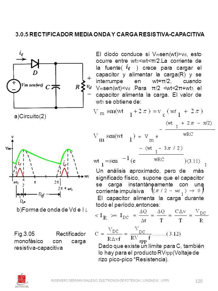 3.0.5 RECTIFICADOR MEDIA ONDA Y CARGA RESISTIVA-CAPACITIVA El díodo conduce si V m sen(wt)>v d, esto ocurre entre wt 1 <wt<π/2.La corriente de la fuen