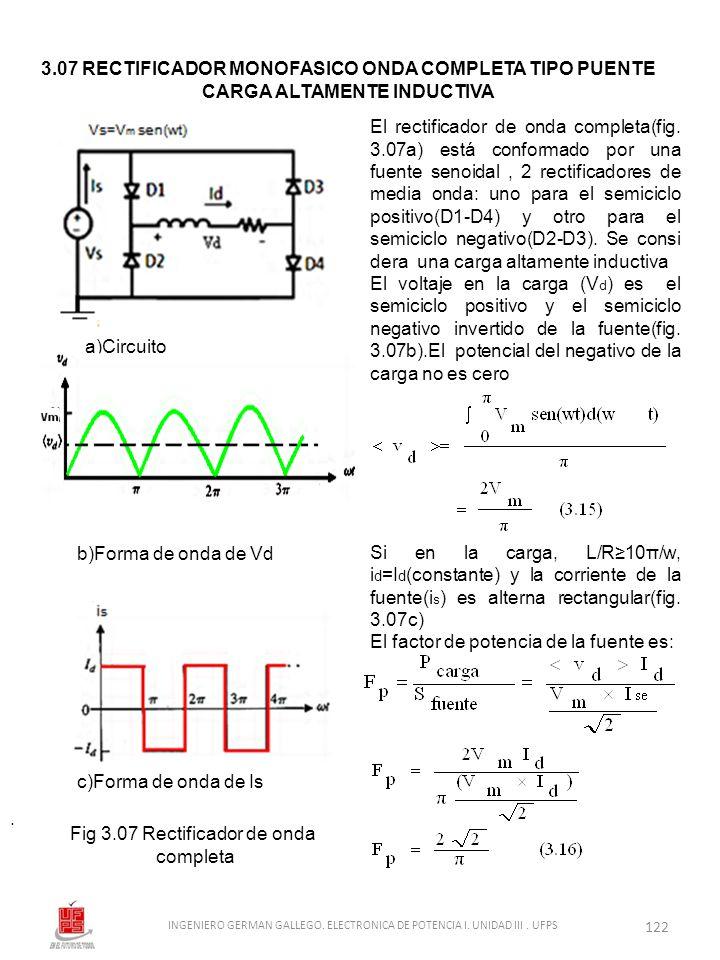 . El rectificador de onda completa(fig. 3.07a) está conformado por una fuente senoidal, 2 rectificadores de media onda: uno para el semiciclo positivo