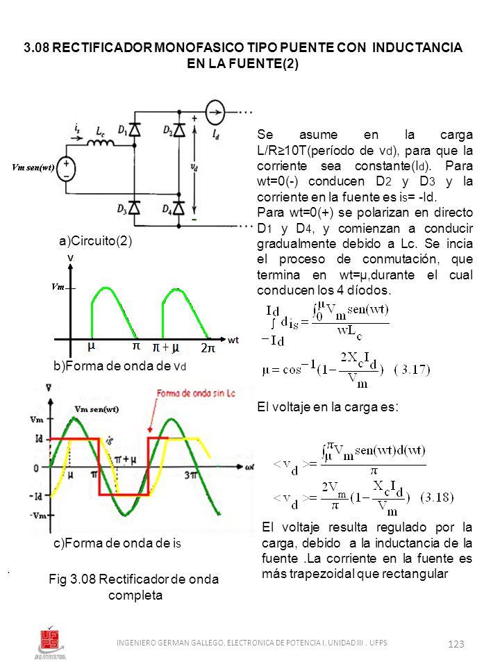 . 3.08 RECTIFICADOR MONOFASICO TIPO PUENTE CON INDUCTANCIA EN LA FUENTE(2) Fig 3.08 Rectificador de onda completa a)Circuito(2) b)Forma de onda de v d