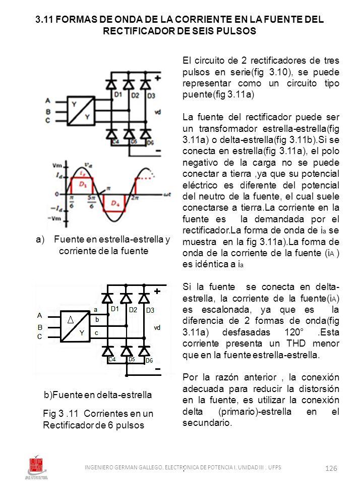 El circuito de 2 rectificadores de tres pulsos en serie(fig 3.10), se puede representar como un circuito tipo puente(fig 3.11a) La fuente del rectific