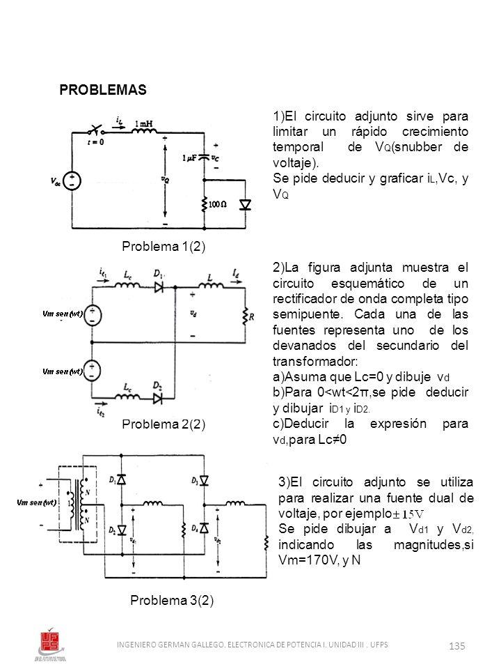 1)El circuito adjunto sirve para limitar un rápido crecimiento temporal de V Q (snubber de voltaje). Se pide deducir y graficar i L,Vc, y V Q 2)La fig