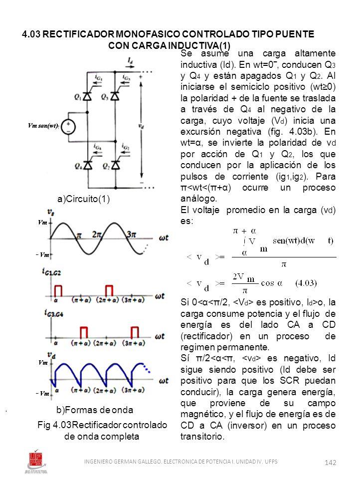 . Se asume una carga altamente inductiva (Id). En wt=0, conducen Q 3 y Q 4 y están apagados Q 1 y Q 2. Al iniciarse el semiciclo positivo (wt0) la pol