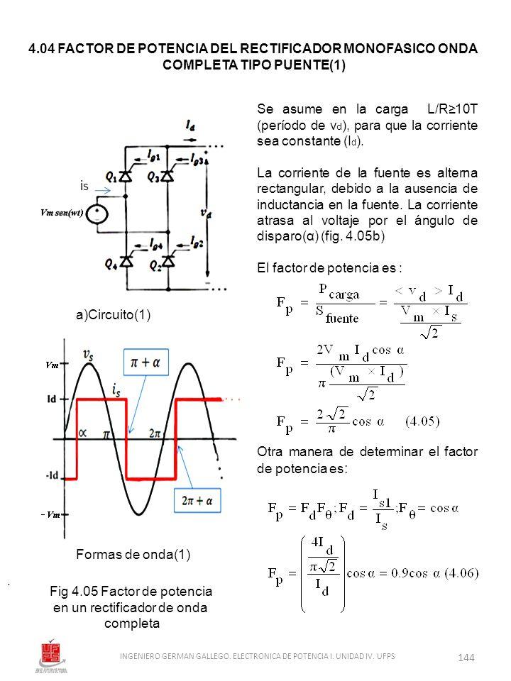 . Se asume en la carga L/R10T (período de v d ), para que la corriente sea constante (I d ). La corriente de la fuente es alterna rectangular, debido