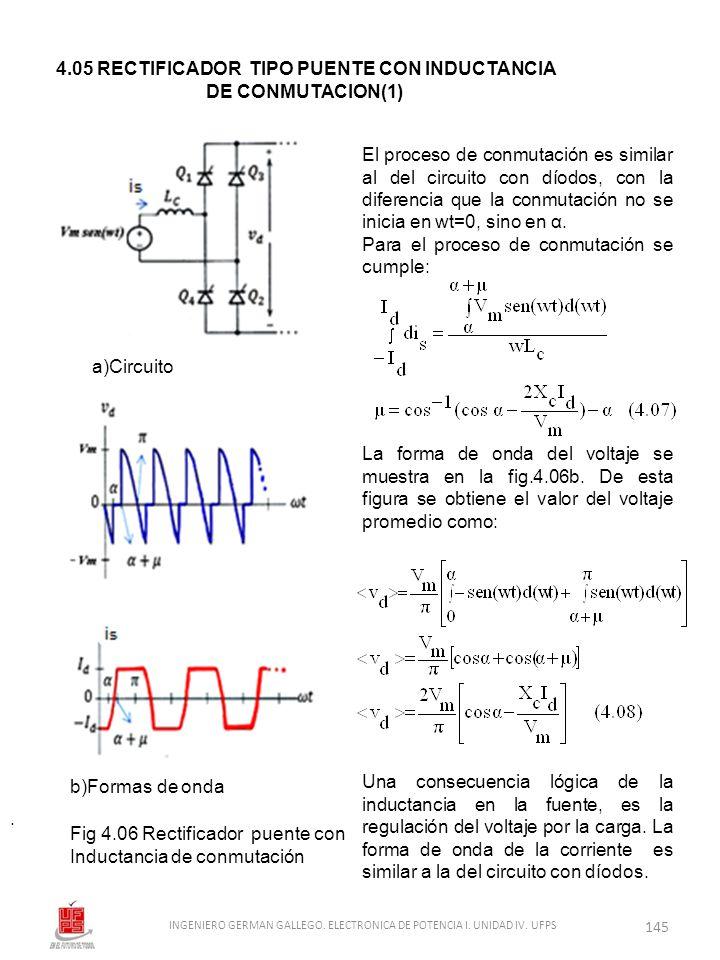 . El proceso de conmutación es similar al del circuito con díodos, con la diferencia que la conmutación no se inicia en wt=0, sino en α. Para el proce