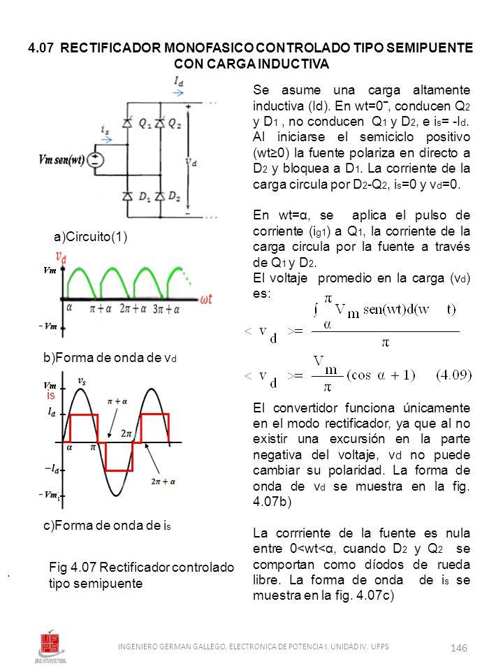 . Se asume una carga altamente inductiva (Id). En wt=0, conducen Q 2 y D 1, no conducen Q 1 y D 2, e i s = -I d. Al iniciarse el semiciclo positivo (w
