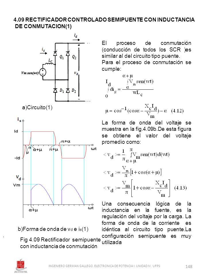 . El proceso de conmutación (conducción de todos los SCR )es similar al del circuito tipo puente. Para el proceso de conmutación se cumple: La forma d