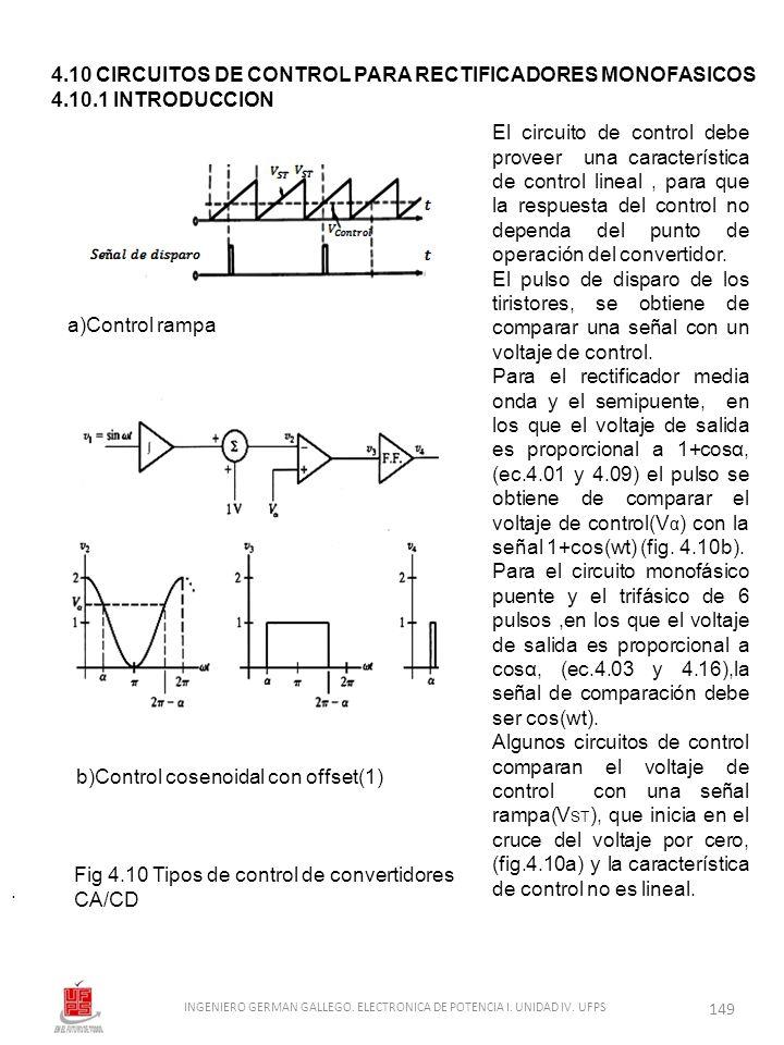 . El circuito de control debe proveer una característica de control lineal, para que la respuesta del control no dependa del punto de operación del co