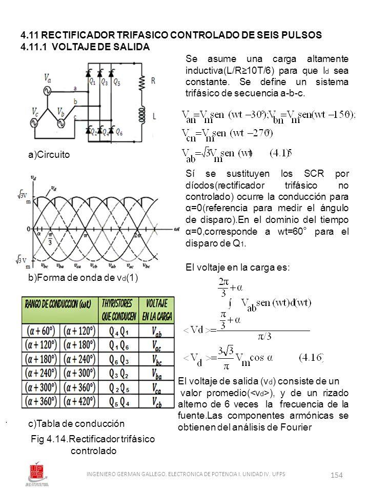 . 4.11 RECTIFICADOR TRIFASICO CONTROLADO DE SEIS PULSOS 4.11.1 VOLTAJE DE SALIDA a)Circuito Se asume una carga altamente inductiva(L/R10T/6) para que