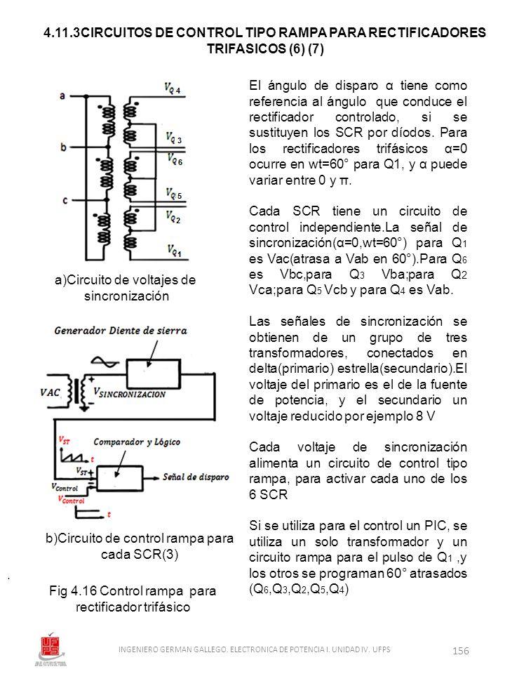 . El ángulo de disparo α tiene como referencia al ángulo que conduce el rectificador controlado, si se sustituyen los SCR por díodos. Para los rectifi