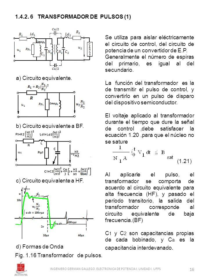 1.4.2. 6 TRANSFORMADOR DE PULSOS (1) a) Circuito equivalente. b) Circuito equivalente a BF. c) Circuito equivalente a HF. d) Formas de Onda Fig. 1.16